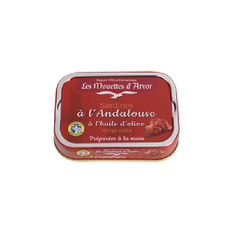 Sardines à l'andalouse et huile d'olive, Les Mouettes d'Arvor 115 g)