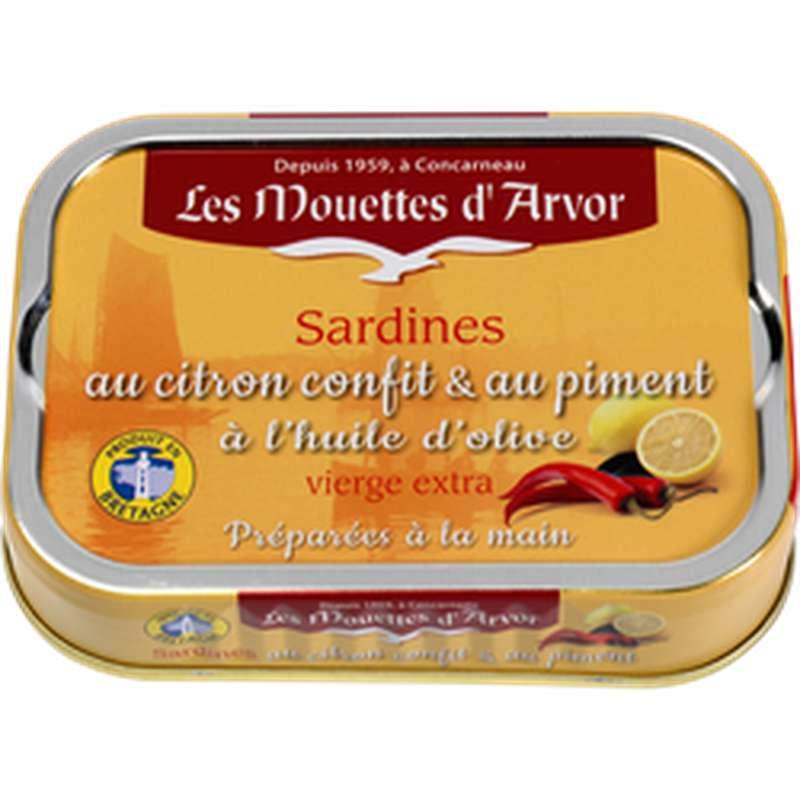 Sardines à l'huile d'olive, citron confit et piment, Les Mouettes d'Arvor (115 g)