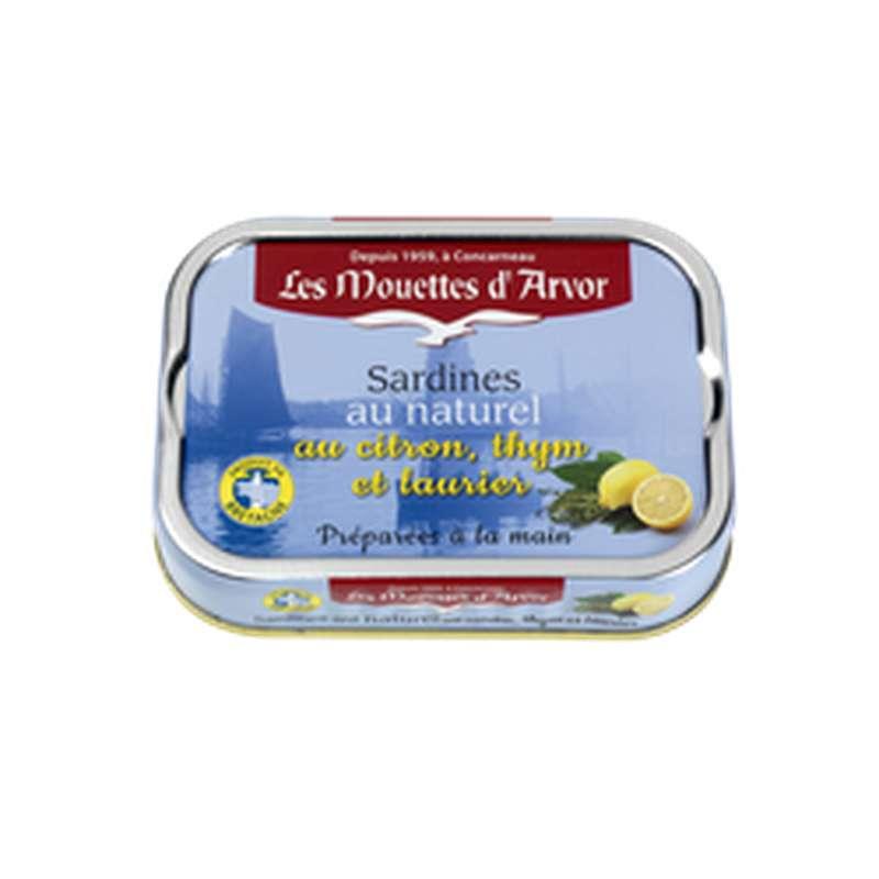 Sardines au naturel, citron, thym et laurier, Les Mouettes d'Arvor (115 g)