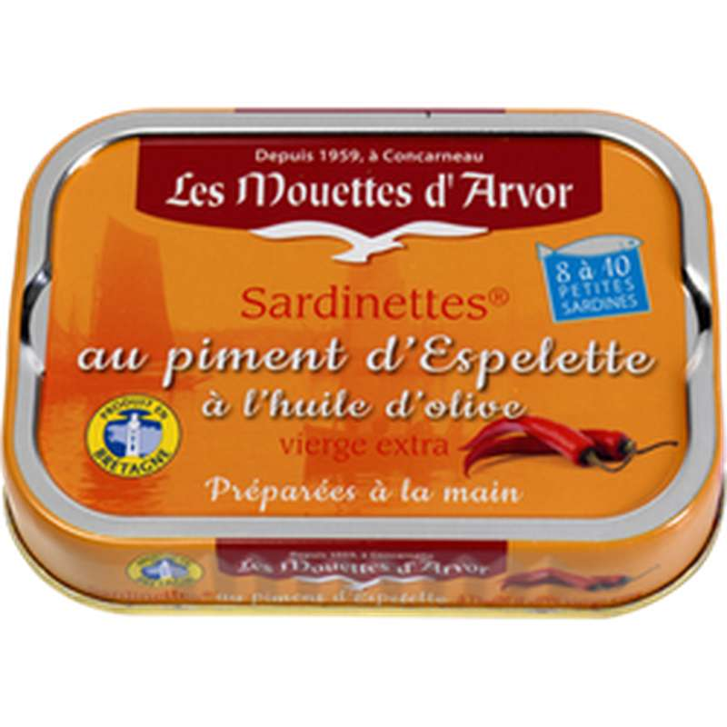 Sardinettes au piment d'Espelette et huile d'olive, Les Mouettes d'Arvor (100 g)
