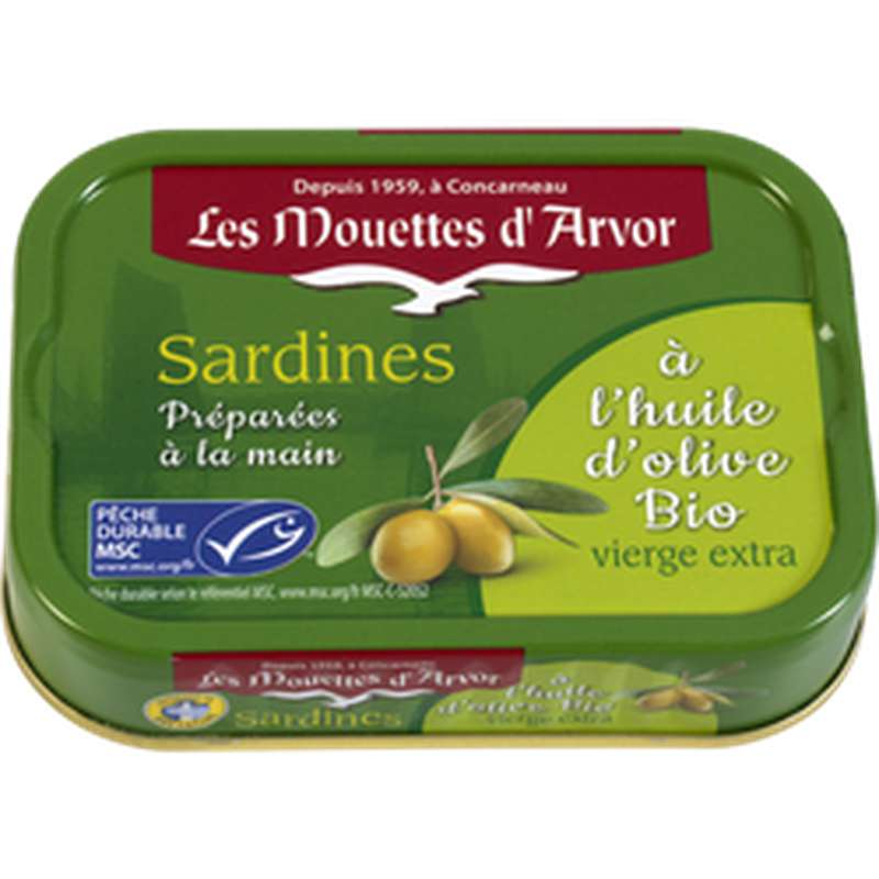Sardines à l'huile d'olive vierge extra BIO, Les Mouettes d'Arvor (115 g)