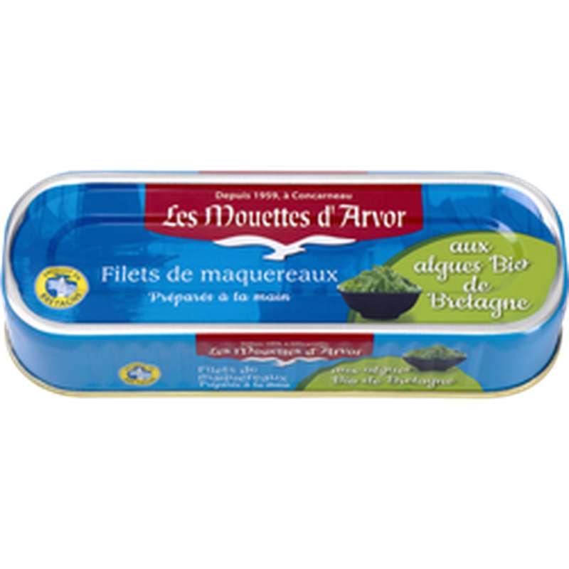 Filets de maquereaux aux algues de Bretagne BIO, Les Mouettes d'Arvor (176 g) (169 g)