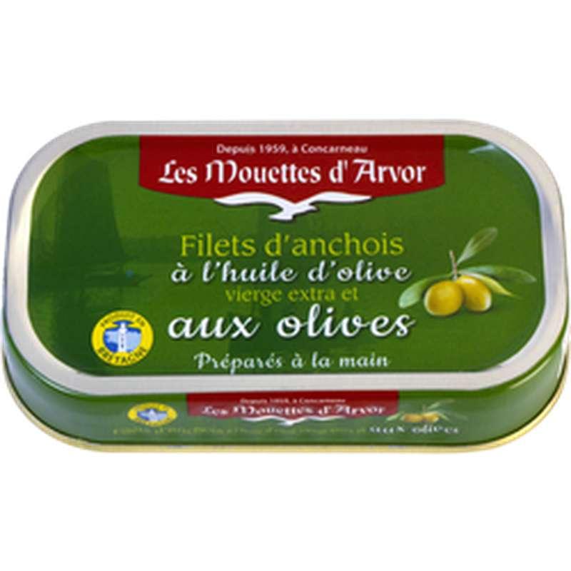 Filets d'anchois à l'huile d'olive et aux olives, Les Mouettes d'Arvor (69 g)