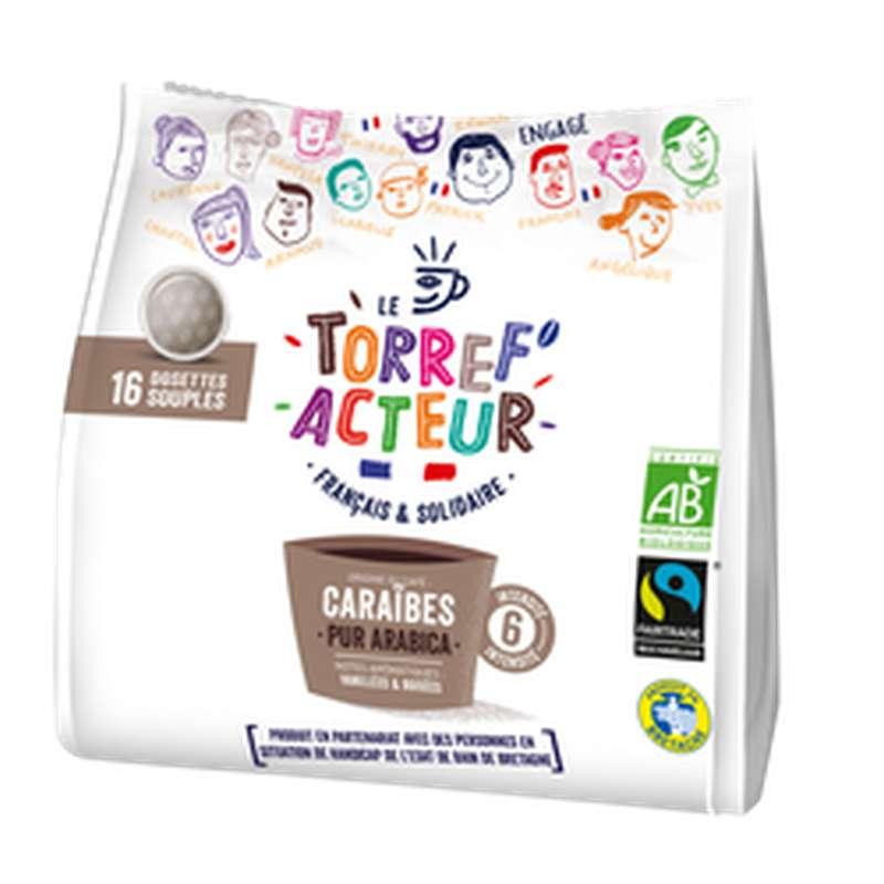 Café capsule compatible Senseo origine Caraïbes BIO, Le Torref'acteur (x 16 dosettes, 112 g)