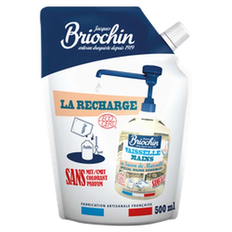 Liquide vaisselle et mains Ecocert sans parfum recharge, Briochin (500 ml)