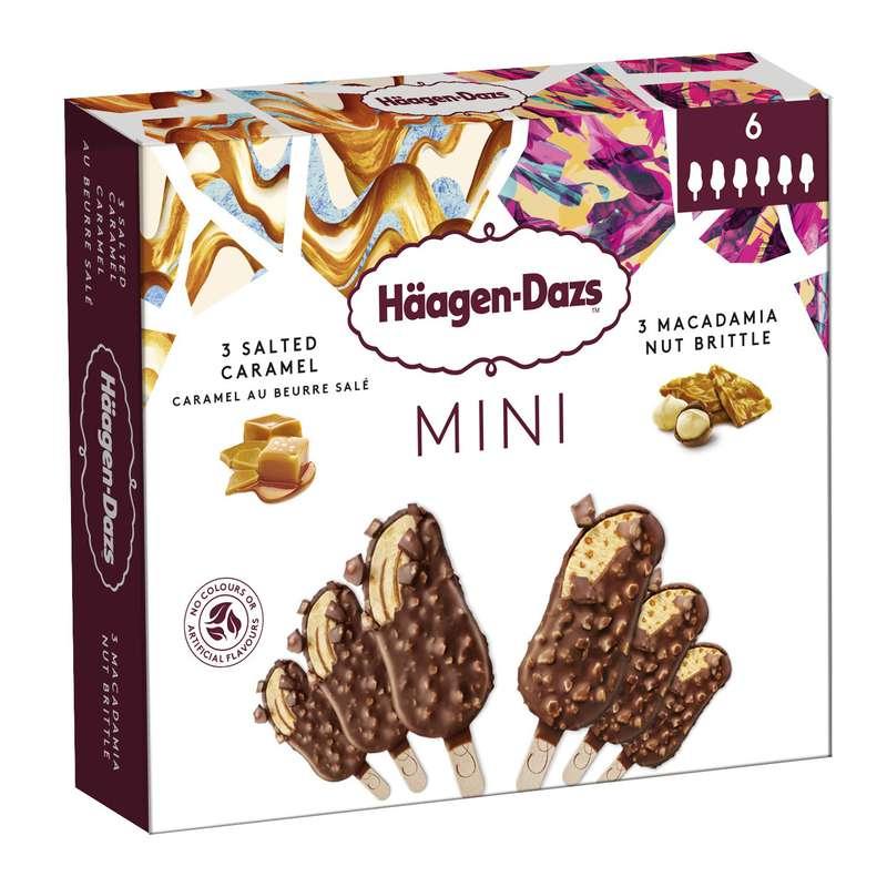 Mini bâtonnets de glace caramel et macadamia, Haagen Dazs (x 6)