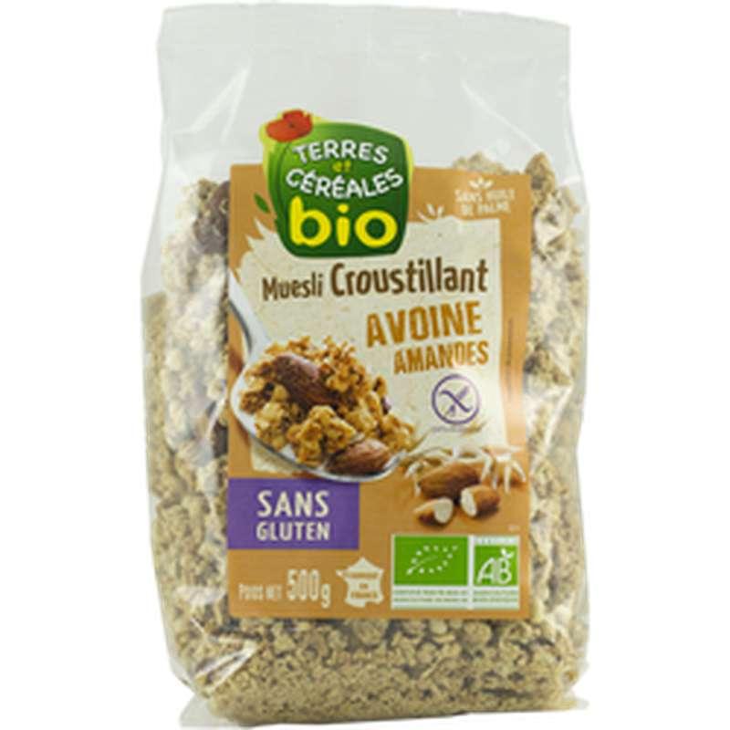 Muesli croustillant avoine amandes sans gluten BIO, Terres et céréales (500 g)