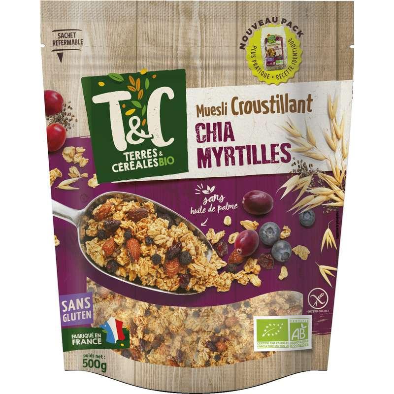 Céréales muesli croustillant myrtilles chia bio sans gluten, Terres et céréales (500 g)