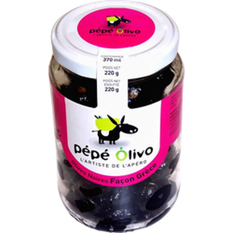 Olives noires façon Grèce en bocal, Pepe Olivo (220 g)