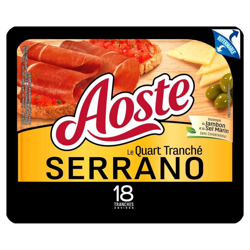 Jambon cru Serrano le quart tranché, Aoste (18 tranches, 220 g)