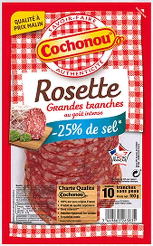 Grandes tranches de Rosette -25% de sel, Cochonou (10 tranches, 100 g)