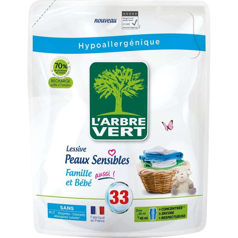 Lessive liquide Recharge Hypoallergénique BIO, l'Arbre Vert (1.5 l)