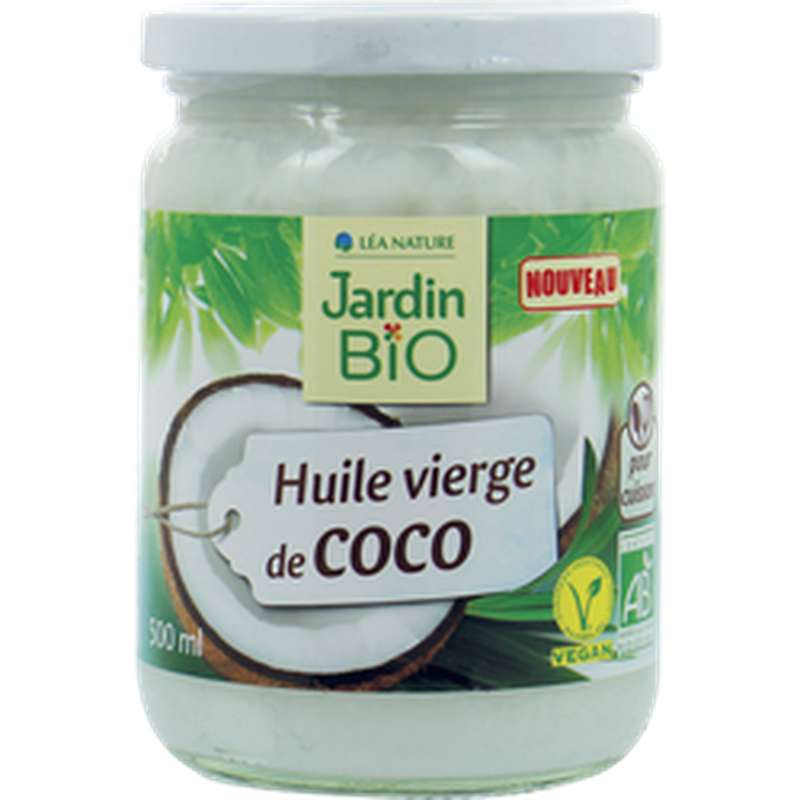 Huile de coco vierge BIO, Jardin Bio (500 ml)
