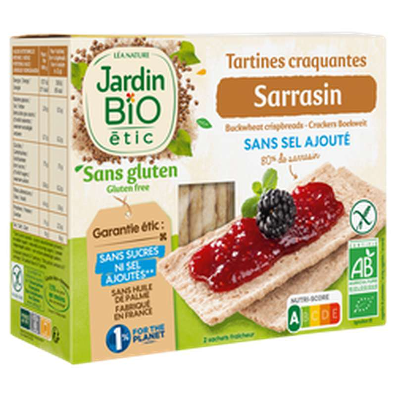 Tartines craquantes sarrasin sans sel ajouté / sans gluten BIO, Jardin Bio étic (150 g)