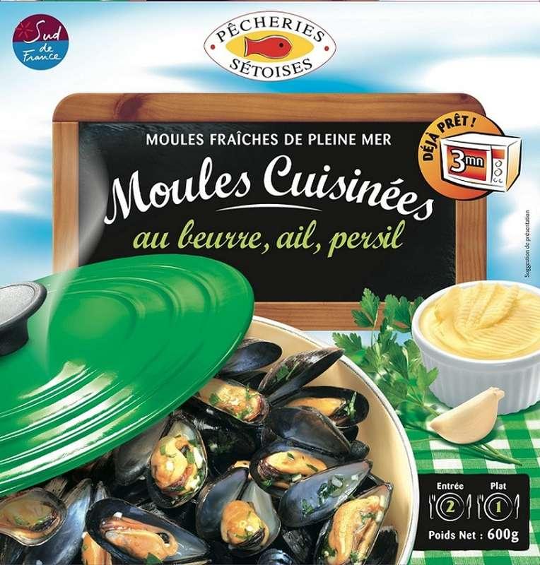Moules beurre ail persil, Pêcheries Sétoises (600 g)