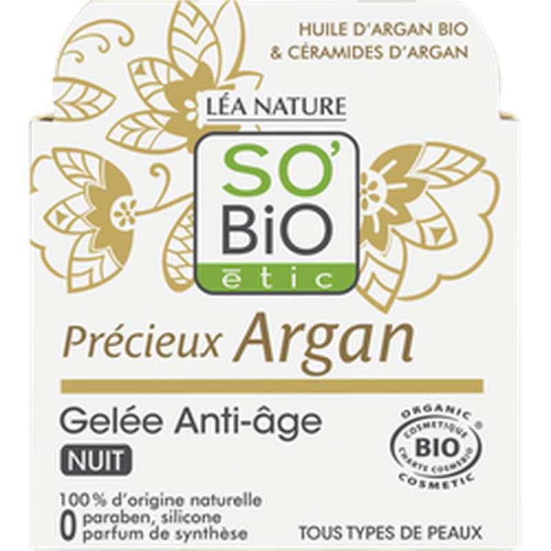 Gelée de nuit anti-âge Précieux Argan BIO, So'Bio Etic (40 ml)