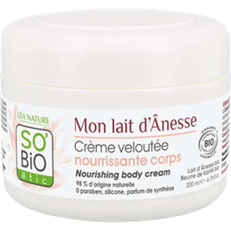 Crème velouté nourrissante corps Mon Lait d'Ânesse BIO, So'Bio Etic (200 ml)