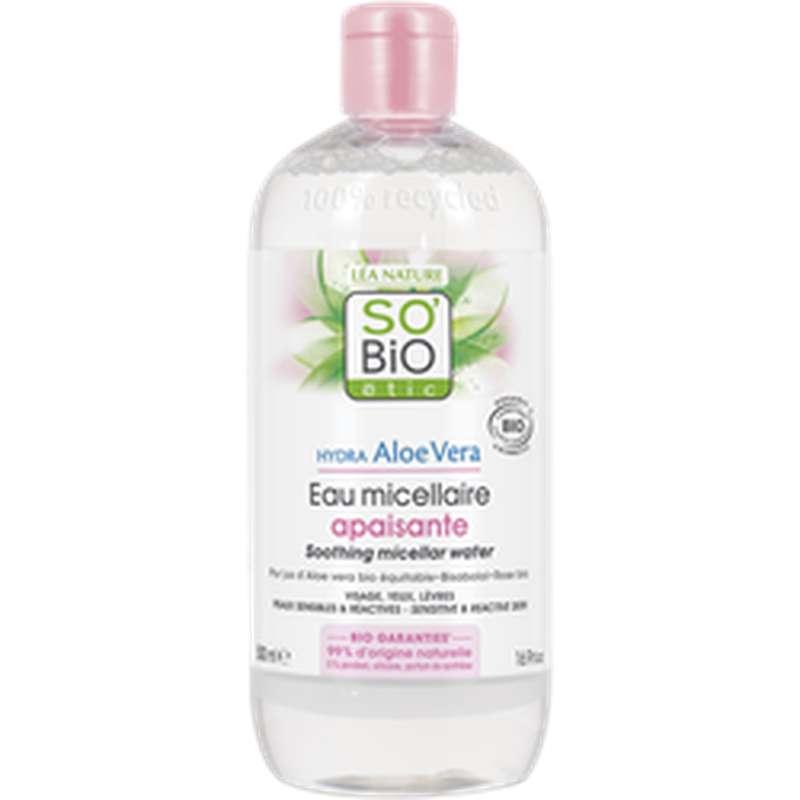 Eau micellaire apaisante 3 en 1 Hydra Aloe Vera BIO, So'Bio Etic (500 ml)