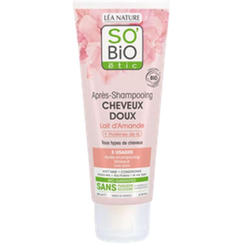 Après-shampoing cheveux doux Lait d'Amande BIO, So'Bio Etic (200 ml)