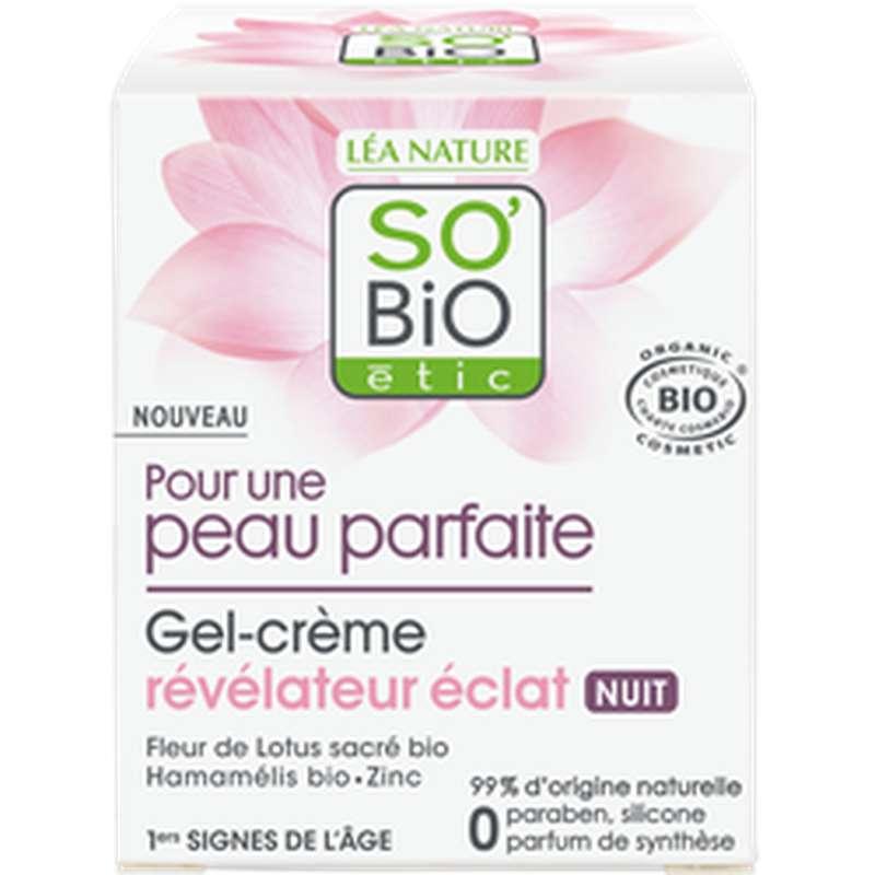 Gel crème nuit révélateur d'éclat peau parfaite BIO, So'Bio Etic (50 ml)