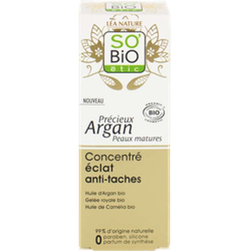 Concentré éclat anti-tâches Précieux Argan BIO, So'Bio Etic (40 ml)