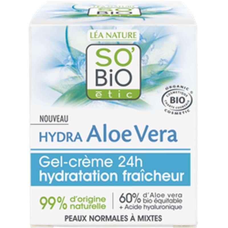 Gel crème 24h hydratation fraîcheur - Hydra Aloe Vera BIO, So'Bio Etic (50 ml)