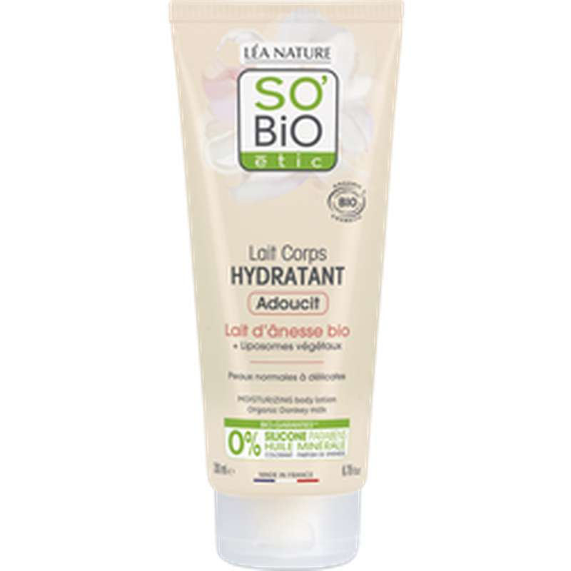 Lait corps hydratant au lait d'ânesse BIO, So'Bio Etic (200 ml)
