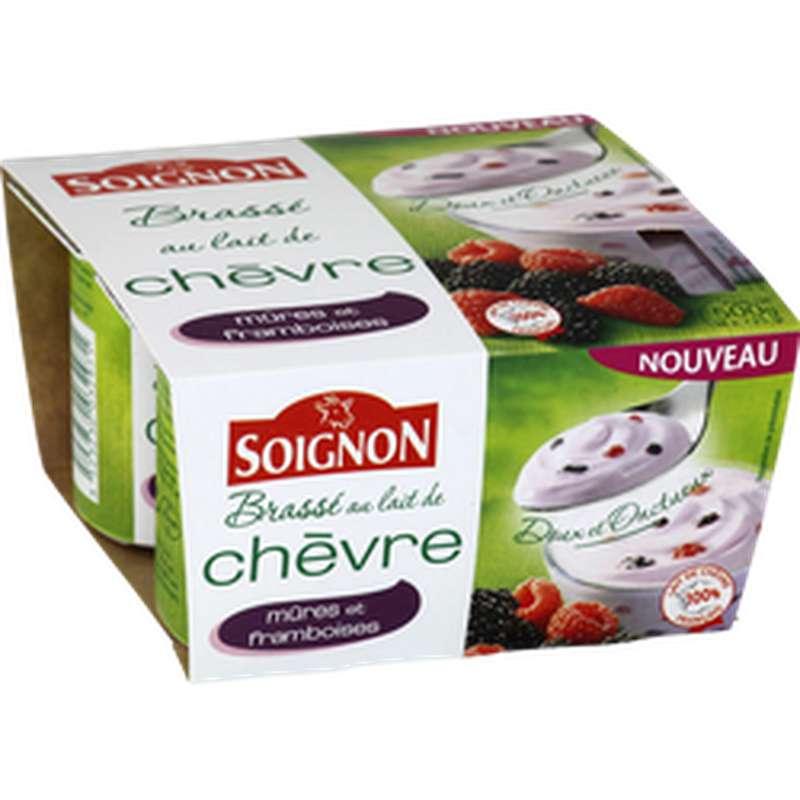 Yaourt brassé au lait de chèvre aux mûres et framboises, Soignon (4 x 125 g)