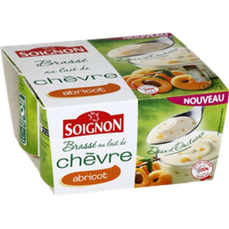 Yaourt brassé au lait de chèvre avec morceaux d'abricots, Soignon (4 x 125 g)