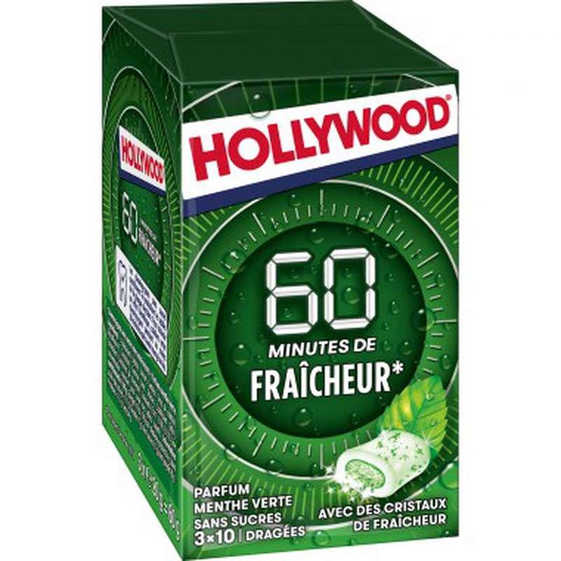 Chewing-gum menthe verte sans sucre, Hollywood (60 g)