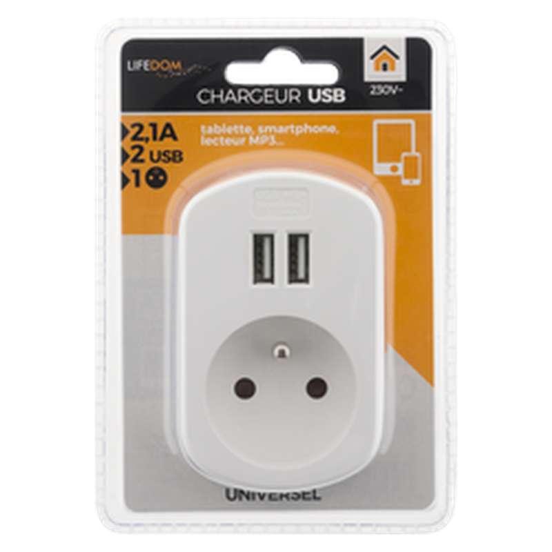 Chargeur blanc 2 pôles USB + 2 prises