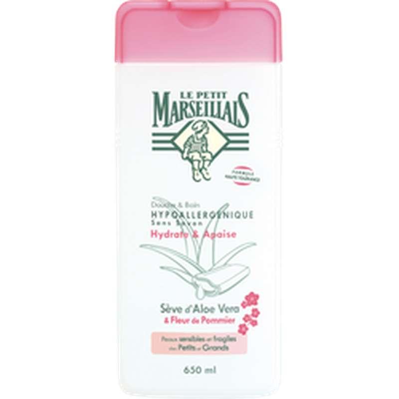 Gel douche hypoallergénique à la sève d'aloé vera et fleur de pommier, Le Petit Marseillais (650 ml)