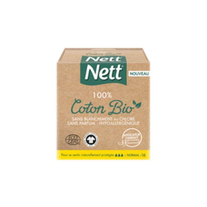 Tampons avec applicateur 100% coton Bio Normal, Nett (x 16)