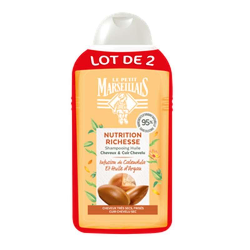 Shampoing nutrition richesse calendula & argan, Le Petit Marseillais LOT DE 2 (2 x 250 ml)