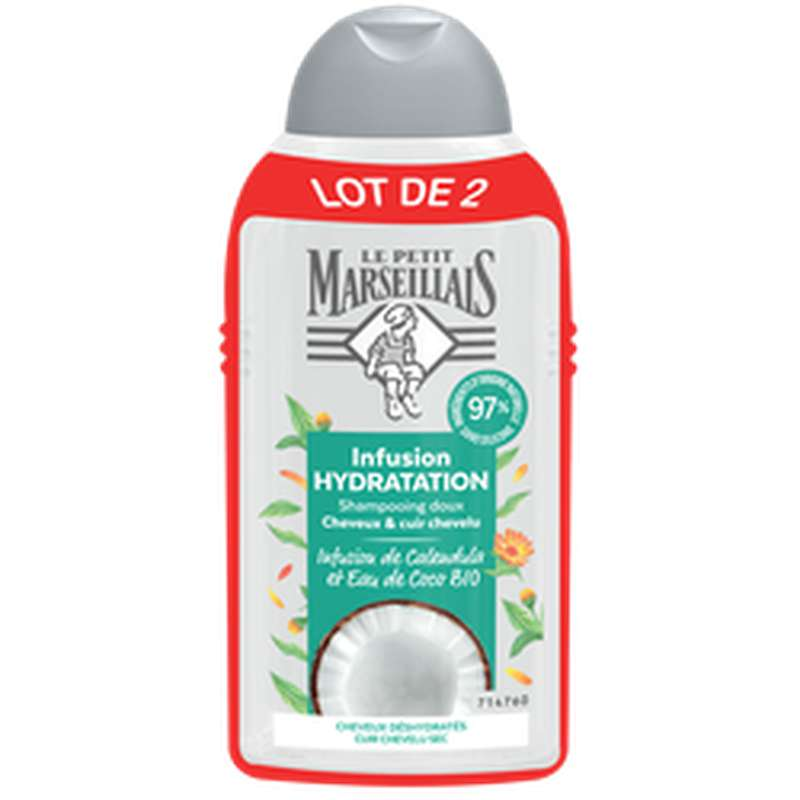 Shampoing hydratation infusion coco et calendula, Le Petit Marseillais LOT DE 2 (2 x 250 ml)