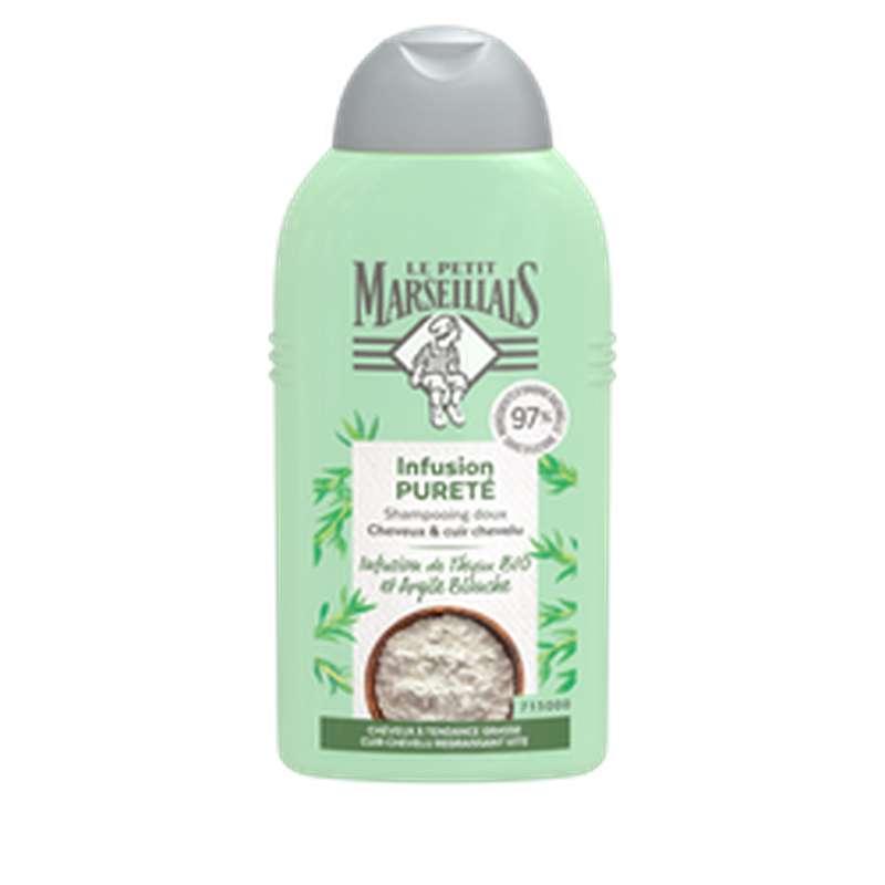 Shampoing purifiant fraicheur infusion thym et argile BIO, Le Petit Marseillais (250 ml)