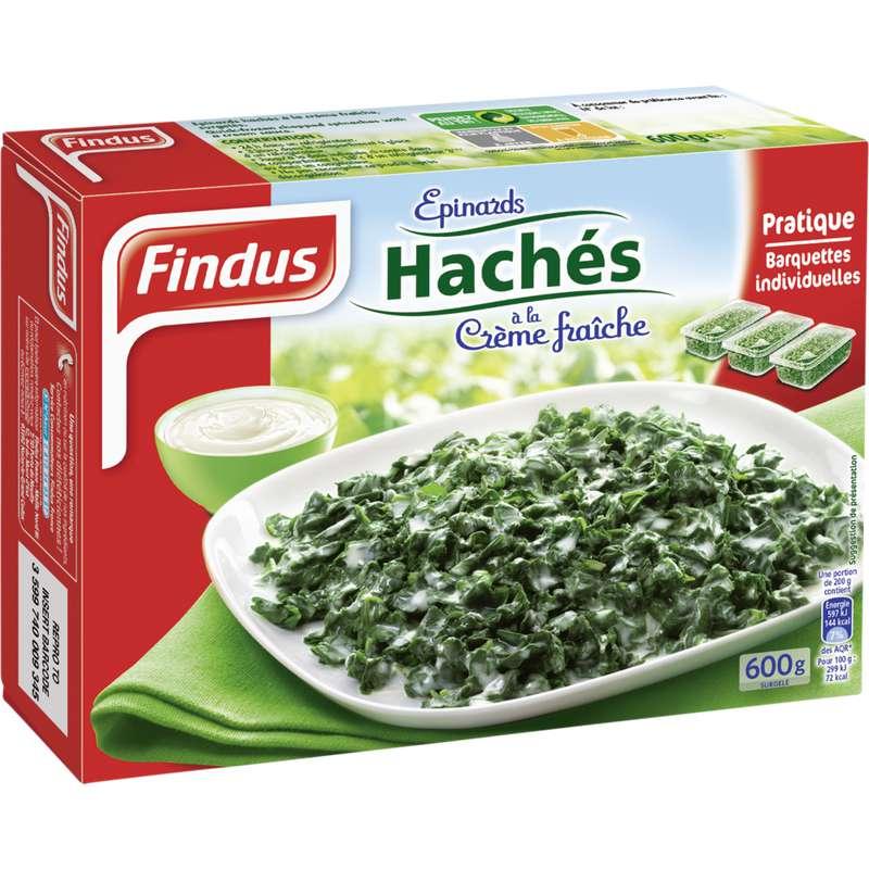 Epinards hachés à la crème fraîche en barquettes individuelles, Findus (x 3, 600 g)
