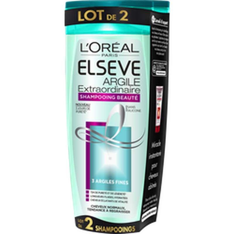 Shampoing purifiant à l'argile extraordinaire, Elseve (2 x 250 ml)