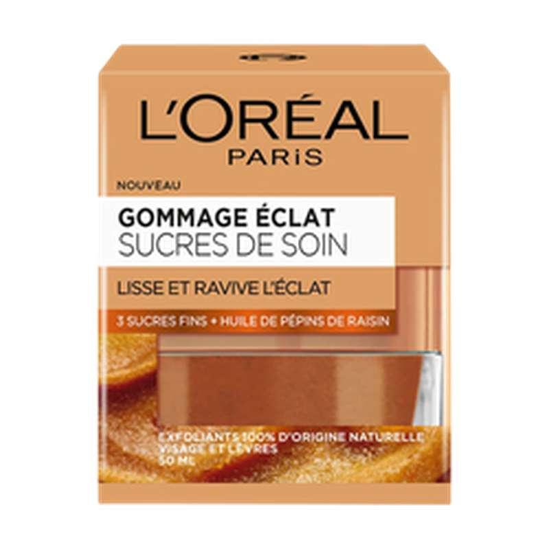 Gommage éclat aux 3 sucres fins et à l'huile de raison flow, L'Oréal (50 ml)
