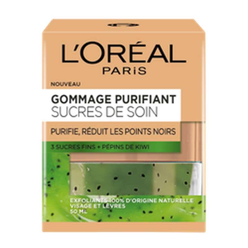 Gommage purifiant aux 3 sucres fins et aux pépins de Kiwi, L'Oréal (50 ml)