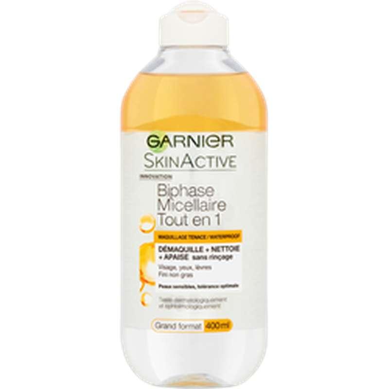 Eau micellaire biphasée tout en 1, Garnier (400 ml)