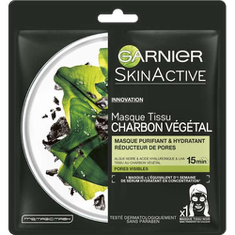 Masque en tissu au charbon végétale purifiant et hydratant, Garnier