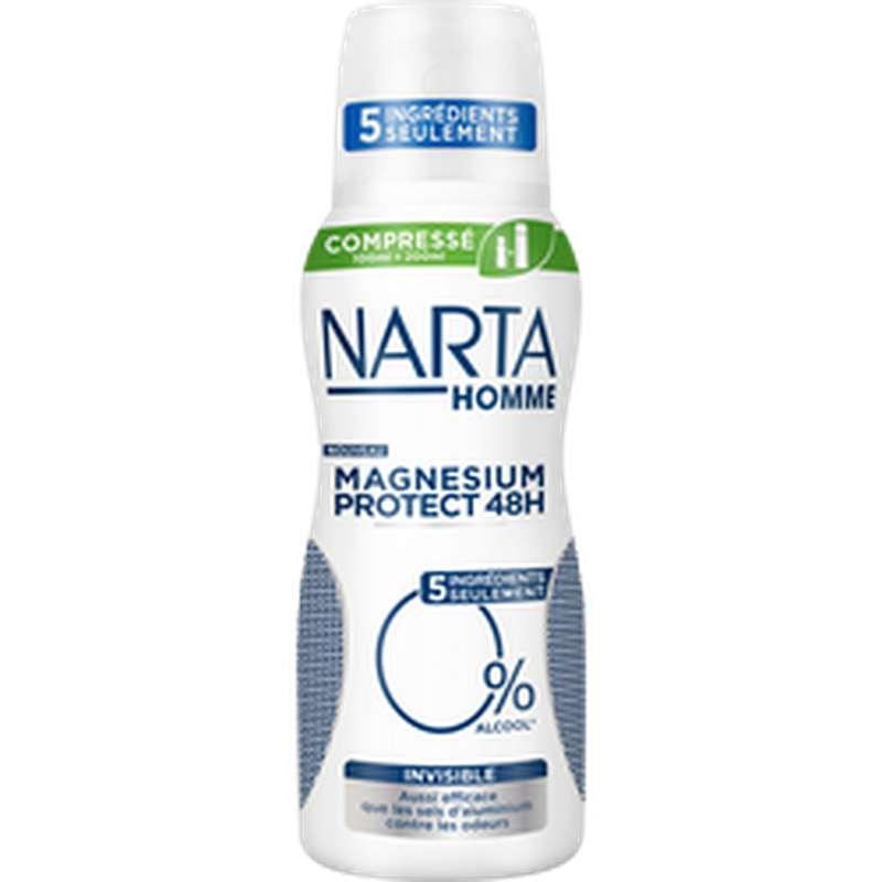 Déodorant homme compressé magnésium protect invisible, Narta (100 ml)