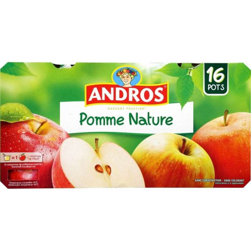 Compote pomme nature, Andros (16 x 100 g)