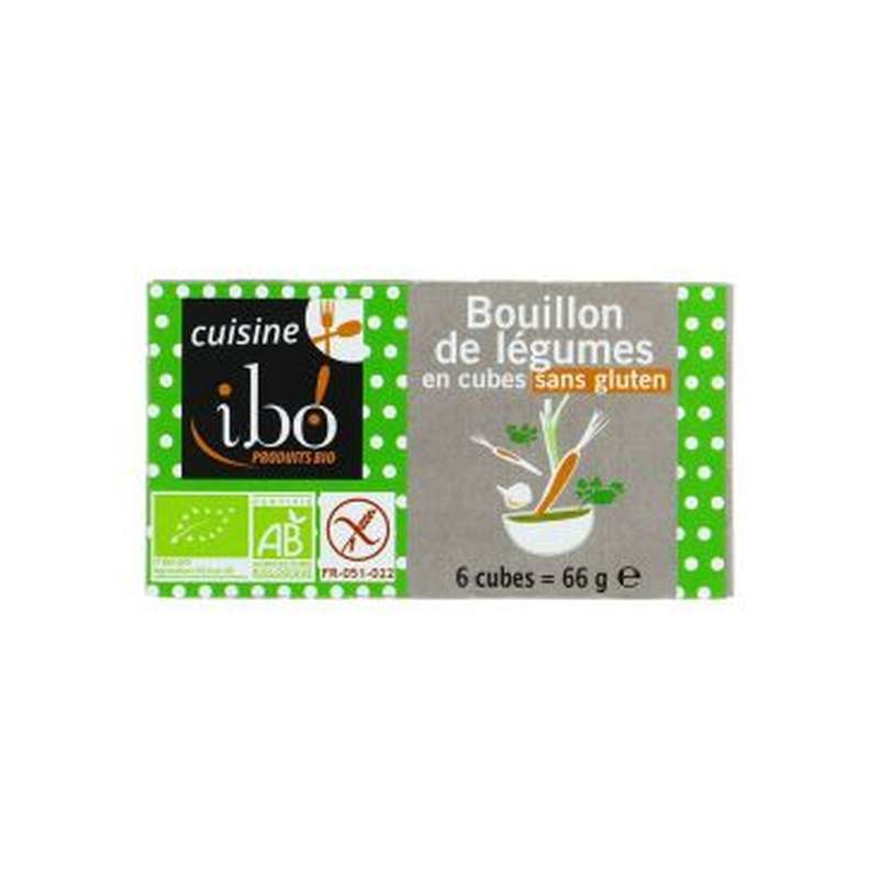 Bouillon de légumes sans gluten BIO, Ibo (x 6, 66 g)