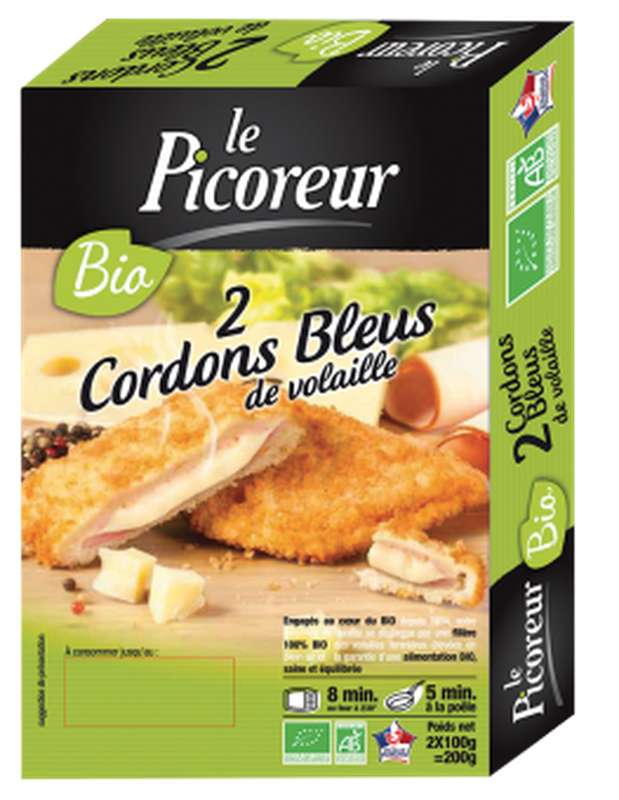 Cordon bleu de volaille à l'emmental fondu BIO, Le Picoreur (x 2, 200 g)