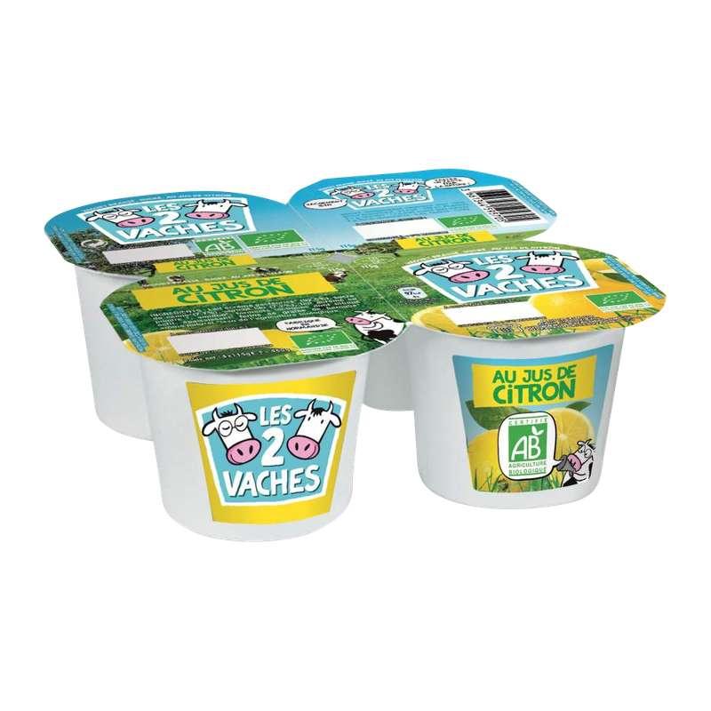 Yaourt au jus de citron BIO, Les 2 Vaches (4 x 115 g)