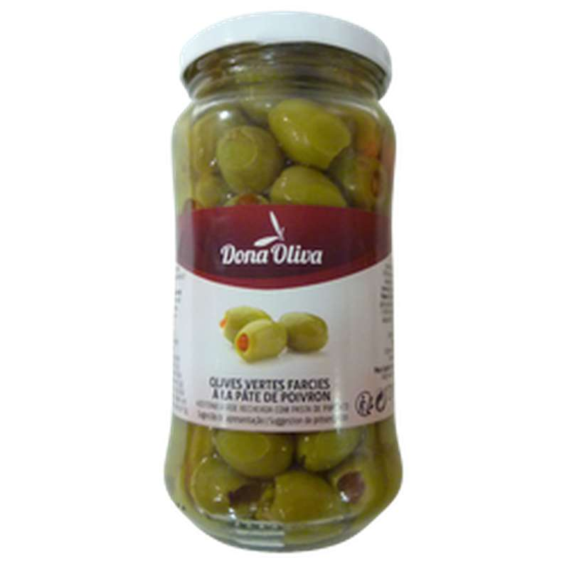 Olives vertes farcies à la pâte de poivrons, Dona Olivia (210 g)