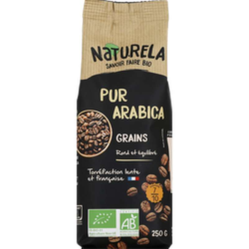 Café en grains Pur Arabica BIO, Naturela (250 g)
