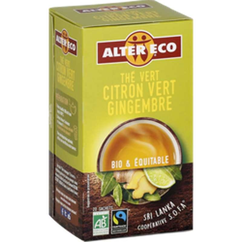 Thé vert citron vert et gingembre BIO, Alter Eco (x 20, 40 g)